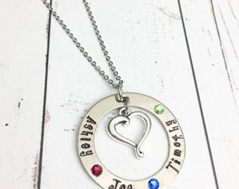 Hand Stamped Mom Necklace with Kids Names, Flat Birthstones, Heart - Stamped Mom Necklace - Personalized Mom Necklace - Mother's Day Gift