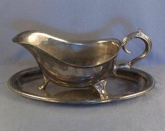 Vintage Silver Plated Gravy Boat with Underplate // Needs Polishing // Table Embellishment