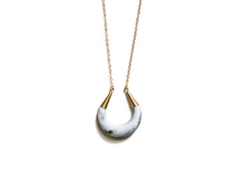 Marbled Marble Porcelain Necklace - Crescent Moon - Modern Goddess Moon Necklace, Porcelain and Stone, Porcelain Jewelry, Porcelain Necklace