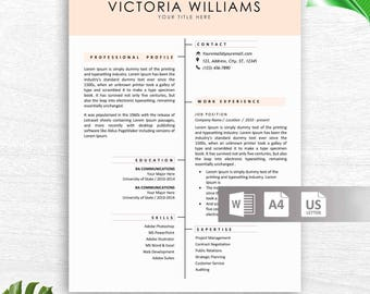 Professional CV Template for Word, Creative CV Design, Instant Download Resume Template, Curriculum Vitae, Professional CV Creative Template