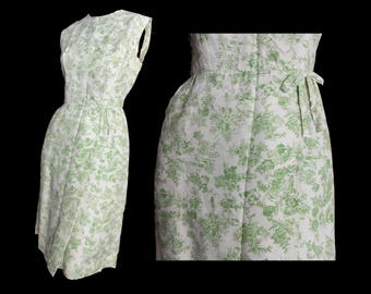 Vintage 1950s Dress Sleeveless Summer Sheath Dress Green Floral Print Toile du Jour
