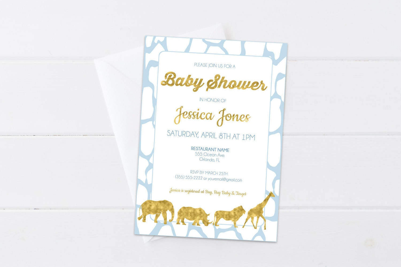 Blue Safari Baby Shower Invitation Baby Blue & Gold Invite