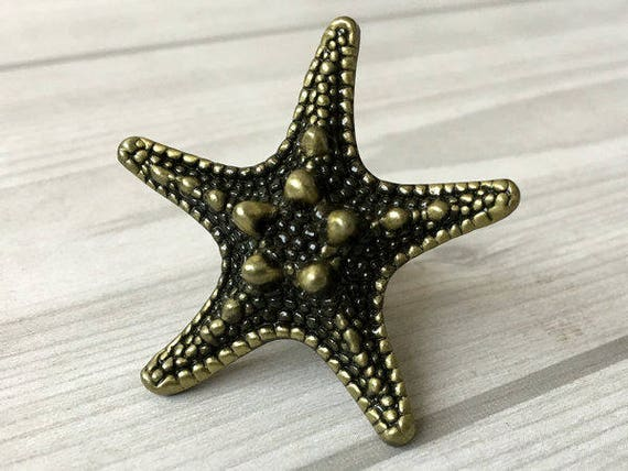 Starfish Knob Sea Star Antique Bronze Silver Black Dresser Knob ...