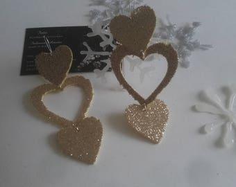 Gold Glitter Neoprene Hearts Earrings