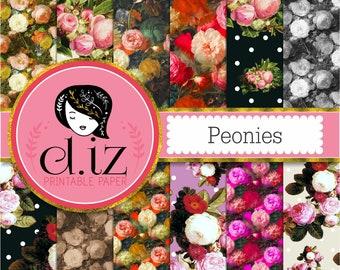 Floral digital paper ' Peonies' floral scrapbook paper, printable flower patterns