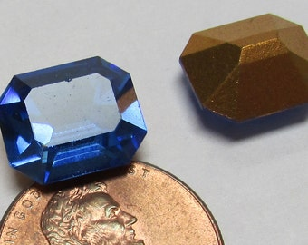 Vintage Swarovski sapphire faceted glass octagons  size 12x10 mm pkg of 4