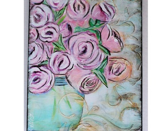 Abstract Floral Painting, Mixed Media
