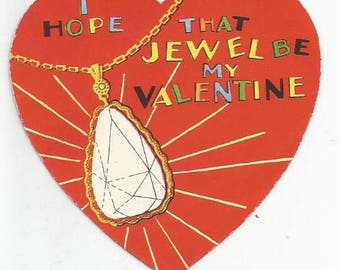 1930s Vintage Valentine I Hope That Jewel Be My Valentine Vintage Greeting Card Vintage Valentine's Day Card