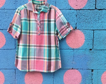 Vintage Turquoise And Pink Plaid Camp Shirt (Size Medium/Large)
