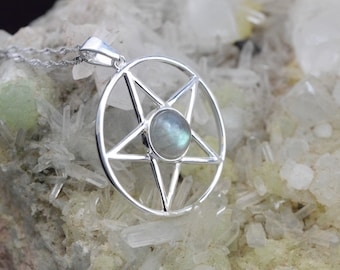 Labradorite - Pentacle pendant and necklace 925 sterling silver