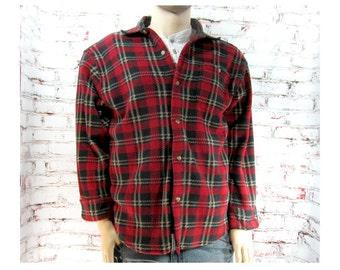 men's plaid shirt - work shirt - red plaid shirt - button down shirt -size  Large -   # 117