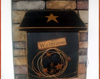 Primitive wooden wood mailbox Mail Box Welcome stars