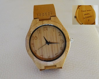 Engraved wood watch gift for men, leather bracelet personalized mens watch, father day gift, bestman gift
