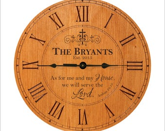 "Personalized Family Clock, Joshua 24:15, ""As for me and my house, we will serve the Lord."" Established, Est., Family Gift"