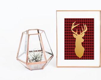 Christmas Printable | Plaid Print | Deer Print | Reindeer Print | Christmas Poster | Flannel Print | Gold Reindeer | Red Plaid Print | Print