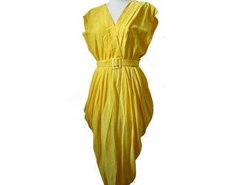1980s yellow midi DRESS // summer vintage 1980s dress // size us8