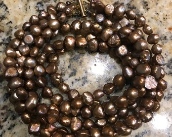 Three Strand Freshwater Pearl Brown Copper Color