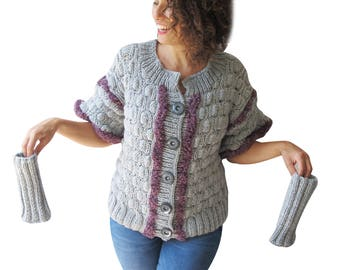 NEW! Gray Cardigan - Arm Warmers Set