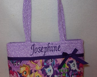 My Little Pony 2 prints tote Handmade youth toddler girls tiny tot purse add a name Birthday gift up to aprox age 5 personalize it