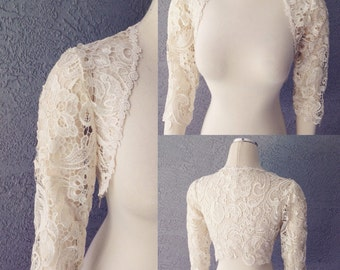 Beautiful Wedding Bridal Ivory Giupure Lace 3/4 Sleeve Bolero Shrug Jacket SIZE M
