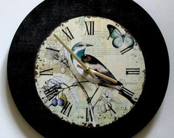 Wall clock. Shabby chic clock. Bird clock. Vinyl clock.