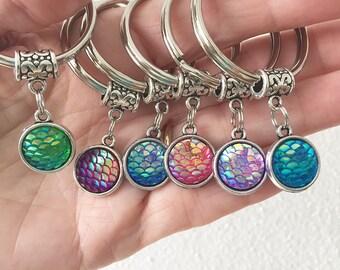Mermaid Keychain/ Mermaid Scales Keychain/ Mermaid Double Sided Scales/ Mermaid Key Chain/ Mermaid Keyring/ Mermaid Beach Key Ring