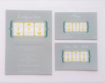Slot machine themed wedding invitations quirky wedding stationery lucky in love