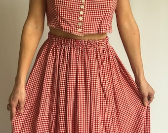 ReWorked VTG 1950s Gingham Skirt and Crop Top Set/ Red/ High Waisted/ Soft Cotton/ Coachella/ Midi Skirt/ Crop Top/ Boho