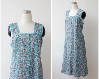 1960's Deadstock Floral Dress, Button Front Plus Size Dress, Turquoise Summer Garden Dress XL