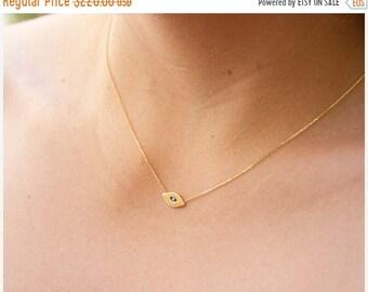 MOTHERS DAY SALE 14k gold evil eye necklace