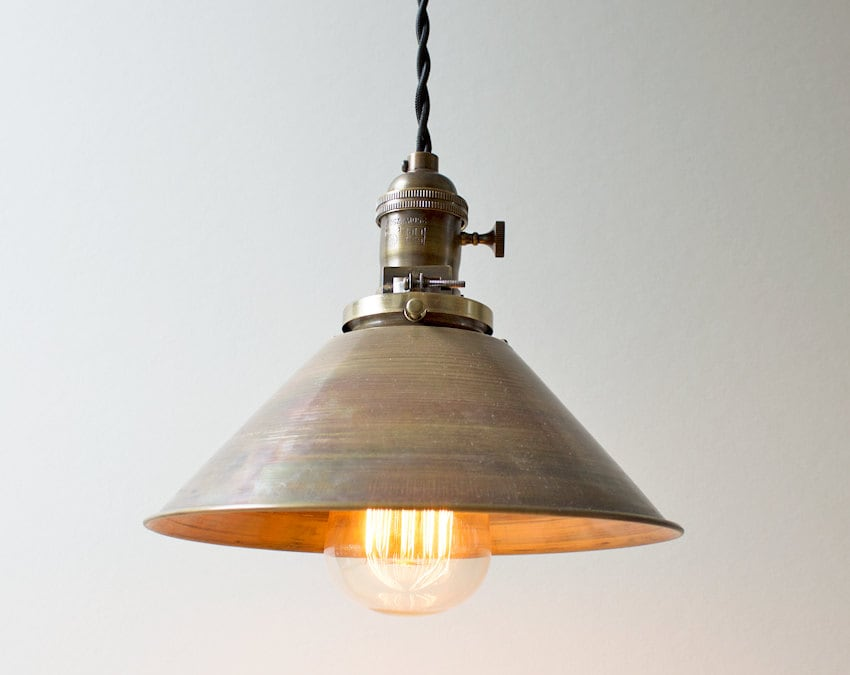 The tin roof industrial brass cone pendant light