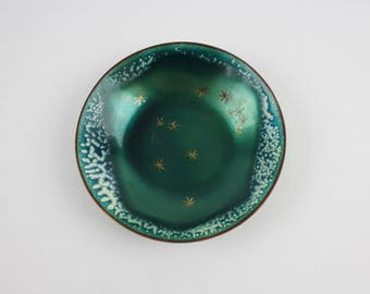 Vintage Copper Green Enamel Trinket Dish Signed by Edward Winter White Speckle Rim