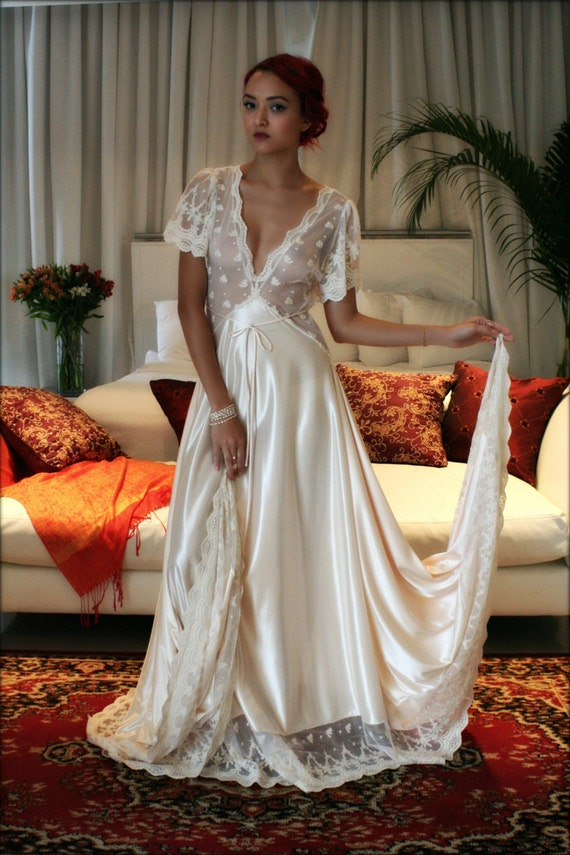 Bridal nightgown amelia satin embroidered lace wedding for Corset bras for wedding dresses