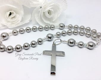 Gray Pearl Anglican Rosary,  Protestant Prayer Beads, Religious Gift, Christian Beads, Meditation Beads, Swarovski Rosary