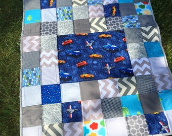 baby boy quilt , Modern baby boy quilt ,mat for baby ,car seat blanket ,modern quilt ,toddler quilt,gray and blue ,35 x 40 inch