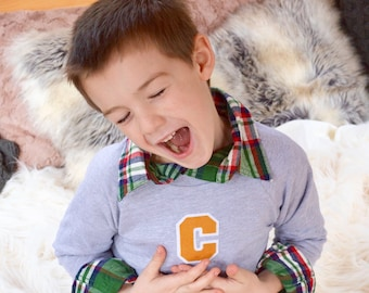 Personalized Boys Clothes, Monogrammed Sweatshirt, Varsity Letter Sweater, Vintage Kids Clothes, Personalized Gift, Gifts under 50