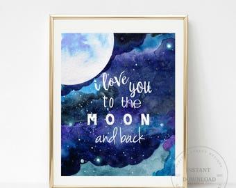 Moon Art Print-8 x 10 INSTANT DOWNLOAD-Space Wall Art-Nursery Decor-Printable Art-Home Decor