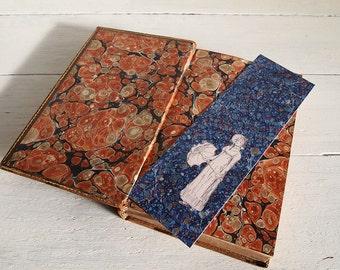 Pride & Prejudice bookmark - Elizabeth Bennet with parasol - marbled blue endpaper - Victorian illustration - Jane Austen - Regency period