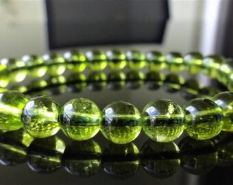 Genuine Green Peridot Bead Bracelet for Men (On Stretch) 8mm AAA Quality
