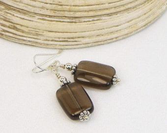 Smoky Quartz Earrings - Sterling Silver - Genuine Gemstones - Gift For Her - Brown Gemstones - Beaded Earrings - Dangle Earrings