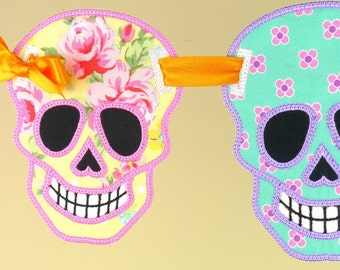 """Sugar Skull Banner ITH Project Applique Machine Embroidery Design Patterns done in the hoop in 5 sizes 4"""", 5"""", 6"""", 7"""" and 8"""" Día de Muertos"""
