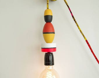 Lamp light floats and African fabric