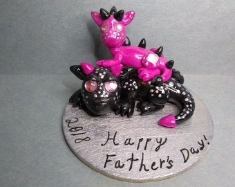 Father's day, dad and daughter, dragon sculpture and cake topper