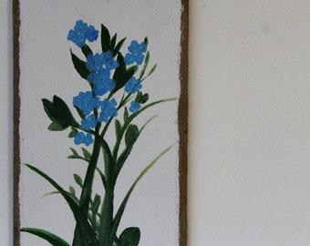 Bluebell Flowers on burlap