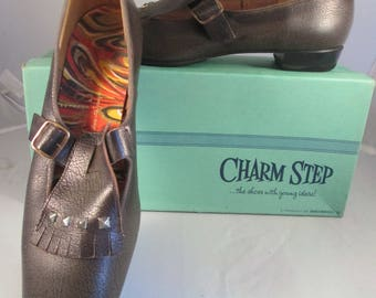 unworn 1960's brown leather Charm Step beatnik flats, tassel and side-buckle buccaneer style loafers, 8 1/2M,