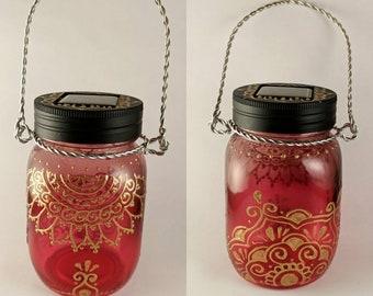 Mason Jar Henna Solar Lanterns - Mandalas