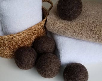Wool Dryer Balls / Set of 5 / Brown / un-dyed / Ready to SHIP