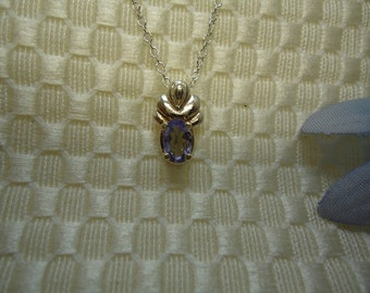 Oval Tanzanite Necklace in Sterling Silver  #359