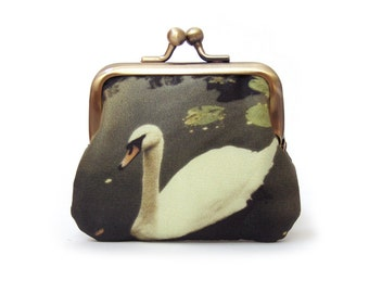 White swan coin purse, mini pocket pouch, printed silk bird, gift for her, SWAN