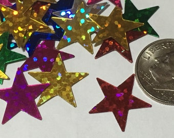 35 - 45 piece assorted large shiny star confetti / sequins, 15 mm (27)